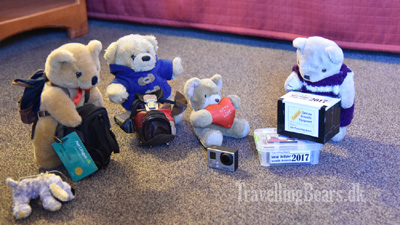 Travelling Bears unpacking observation equipment for the Solar 